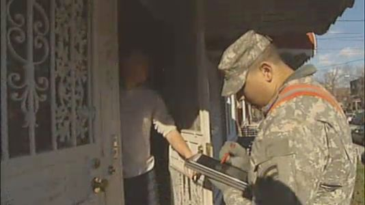 Door-to-door surveys conducted by about 100 members of the New York National Guard who have teamed up with numerous city, state and federal agencies. Image: NY1.
