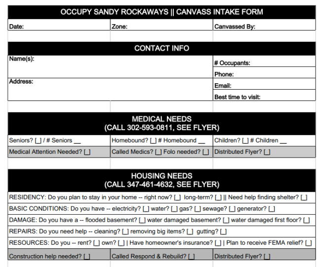 Section of Occupy Sandy canvas form.
