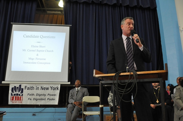 1. Democratic Nominee for Mayor, Bill de Blasio, at a Faith in New York event in Far Rockaway.  Image by Faith in New York.